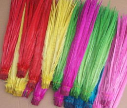 Wholesale Turquoise Lime Orange - 20-22inch Lime Green White red Turquoise Royal Blue Purple hot pink Yellow Orange Ringneck Pheasant Tail Feather