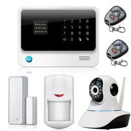 aplicación gsm ios inalámbrica Rebajas Sistema de alarma inalámbrico GPRS / GSM / WiFi de Smart Home en inglés / español / francés con cámara, Android / IOS APP