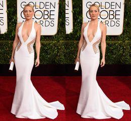 Wholesale Golden Globe Pink Dresses - 72nd Golden Globe Kate Hudson Long Celebrity Dresses Halter Sexy Satin Evening Prom Party Evening Dresses