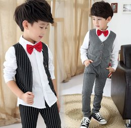 Wholesale Boys Button Vest - 2016 Spring New Gentleman Boys 3pcs Sets Children Clothing Striped Vest Jacket Shirt Pants Outfits Kids Outfit D6418