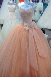 Wholesale Scalloped Sweetheart Tulle Ball Gown - Luxury Quinceanera Dresses Vestidos De 15 Anos Actual Image Peach Beaded Tulle Ball Gown Long Party Prom Dress Gowns zahy646