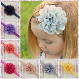 Canada Enfants Cheveux Accessoires Bébé Filles 8 cm Grand maille fleur bandeaux avec volants en mousseline de soie fleur avec élastique bande de cheveux 15 couleur KHA81 Offre