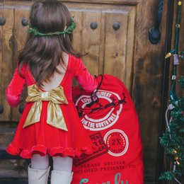 Wholesale Sexy Dresses For New Years - Christmas Dress for girls Red backless Big bow Sexy cute pleuche Dresses Children clothing Chidren New Year clothing 2017 Ins