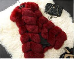 Wholesale Red Fox Coats Xl - Women's coat faux fox fur vest shitsuke fuorrure femme fur vests fashion luxury peel women's jacket gilet veste