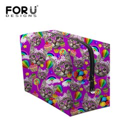 Wholesale Cat Travel Boxes - 6 Colors Women Cosmetic Bag Multifunctional Travel Makeup Box Cute Cat Print Storage Bag Organizer Beautycase Neceser Para Mujer
