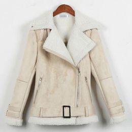 Wholesale Lamb Leather Coats Women - Wholesale- Jaqueta De Couro Feminina 2016 New Fashion Winter Suede Motorcycle Jacket Lamb Wool Coat Thick Warm Slim Leather Outerwear A627