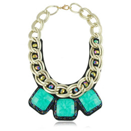 Wholesale Leather Bib Necklaces - European Chunky Gold Plated Chain Exaggerated Square Resin Gem Statement Bib Necklace For Women