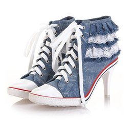 Wholesale Metal Boots Sneakers - 2013 new arrival spring fashion metal rivet boots denim canvas high heel sneakers lace up shoes