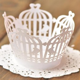 Wholesale Wholesale White Cupcake Wrappers - Promotion free shipping 120pcs White Bird cage Laser cut Lace Cup Cake Wrapper Cupcake Wrapper for Birthday baby shower Party Decoration