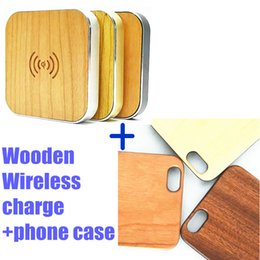 Wholesale Iphone Skins Wood - Natural Wood Wooden wireless Cases Anti-scratches Genuine Bamboo Phone Back Skin Covers For Iphone 5 5s 6 6s 6plus with Qi Wireless Charger