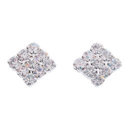 Wholesale Square Crystal Earrings - 1Pair Crystal Rhinestone Square Magnetic CLIP Earrings Stud Mens Women Fashion