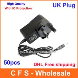 Wholesale Adapter Dc 9v 2a - 50pcs DC 12V 1A or 9V 1A or 5V 2A UK Plug Power Adapter Supply 2.1mm x 5.5mm Express Free shipping