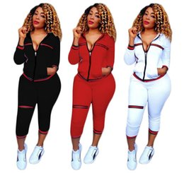 Wholesale Cardigan Two Color Woman - Womens Tracksuits High quality Panelled Striped Hooded jacket tops pants set Casual Two-Piece sets Women's Sport suits sportswear 3 color