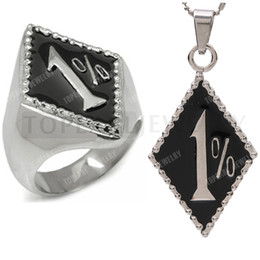Wholesale Black Motorbikes - Free Shipping! Stainless Steel Outlaw Biker Ring and Pendant Set 1% ER One Percent Motorbike Club RP200