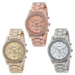 Wholesale Geneva Watch Bling - 2015 Fashion Watch Geneva Unisex Quartz Watch Women Analog Wristwatches Bling Crystal Clocks Stainless Steel Watch Relogio Reloj