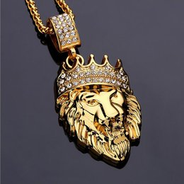 Wholesale Lion Gifts For Men - New 2016 Mens Hip Hop Jewelry Iced Out 18K Gold Plated Fashion Bling Bling Lion Head Pendant Men Necklace Gold Filled For Gift Present