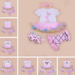 Wholesale 12 Month Birthday Dresses - infant baby christmas romper dress 4pc set girls birthday romper & girls ballet cotton leg warmer & infant chevron walking shoes & headband