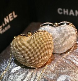 Wholesale Silver Bridal Party Clutches - Cute Heart Style Evening Bags Shining Crystal Rhinestone Bridal Clutch Wedding Party Bags 2015 Fashion Popular Bridesmaid Handbags Cheap