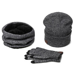 Wholesale Knitted Hat Gloves Scarf - A Set Of Men Women Winter Hats Scarves Gloves Cotton Knitted Hat Scarf Set For Male Female Winter Accessories 3 Pieces Hat Scarf
