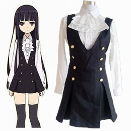 Wholesale Shirt Halloween Adult - Adult Anime Cosplay Inu X Boku Secret Service Ss Shirakiin Ririchiyo Costume long sleeve Shirt + Dress + bow-tie Spot Goods