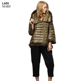 Wholesale Three Quarter Sleeve Down Jackets - LADIMARY New Winter Women's Down Parka Fur Collar Hooded Three Quarter Down Jackets Parka Lady Overcoat Stylish Y14002