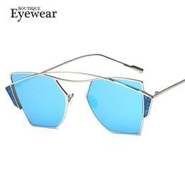 Wholesale Unique Boutique Fashion - Wholesale- BOUTIQUE Women Unique Classic Brand Designer Sunglasses Cat Eye Fashion Sunglasses Twin Beam Metal Frame Glasses