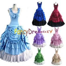 Wholesale Women Gothic Costume Plus - Wholesale-2015 Halloween Costumes for Women Adult Southern Victorian Dress Ball Gown Gothic Lolita Dress Plus Size Customized V085