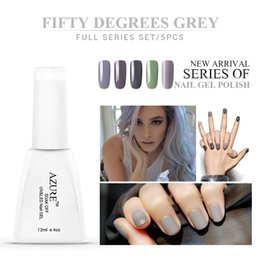 Wholesale Grey Nail Polish - 50 Degrees Grey Series Nail Gel Polish 12ml Classic Color UV Gel Saok off Nail Gel Lacquer french manicure set