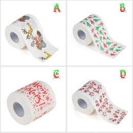 Wholesale Paper Bath - Santa Claus Printed Toilet Paper Merry Christmas Bath Toilet Roll Paper Tissue Living Room Table Decor