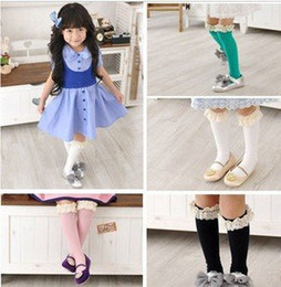 Wholesale Dancewear Free Shipping - Wholesale-40 pairs lot Princess lace socks girl's high knee socks hosiery dancewear ballet sock free shipping