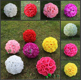 Wholesale silver christmas ball ornament - Artificial 5 inch Silk Rose Flower Ball Hanging Kissing Balls For Christmas Ornaments Wedding Party Decoration Supplies Free Shipping