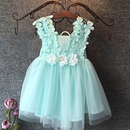 crocheted tutu Coupons - Fashion girls Lace Crochet Vest Dress 2015 new Princess Girls sleeveless crochet vest Lace dress baby party dress kids clothes C001