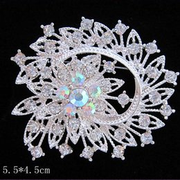 Wholesale Pearl Bouquet Fashion Brooch - Silver Tone Vogue Women Flower Brooch Pins Sparkling Rainbow Crystal Rhinestone Bridal Bouquet Jewelry Accessories Fashion Hot Selling