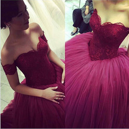 Wholesale Cheap Short Red Quinceanera Dresses - Fuchsia Lace Sweetheart Ball Gown Cheap Quinceanera Dresses Long Prom Dresses vestidos de quinceaneras 2016 vestidos de 15 anos