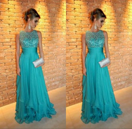 Wholesale Open Back Empire Dress - 2015 Evening Dresses Elegant Jewel Neck Crystal Beaded Chiffon Prom Dress Sexy Open Back Empire Waist Pleats Chiffon Evening Party Gowns