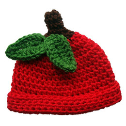 Wholesale Little Girls Knitted Hats - Lovely Red Little Apple Hat,Handmade Knit Crochet Baby Boy Girl Adorable Fruit Beanie Cap,Kids Winter Hat,Infant Newborn Photo Prop