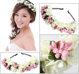 Wholesale Flower Hair Sticks - cheap Colorful Beach Bridal Wedding Garland Bohemian Flowers Headbands With Multicolor Flowers Floral Garland Bridal Hair Accessories
