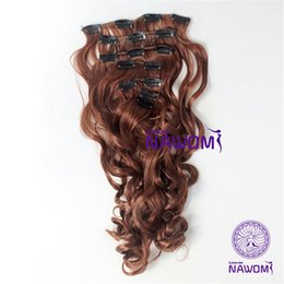 Wholesale Mixed Length Brazilian Full Head - Heat Resistant Brown Women Hairpiece 17.7 Inch Body Wave Long NAWOMI New 160g Synthetic 3 4 Full Head Clip In Hair Extension #30
