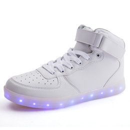 Wholesale Led Top For Girls - LED Light Up Shoes Gold High Top girls and boys luces dorado Fashion USB Charge Red kids Casual Luminous sneakers for children Party shoes