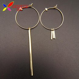 Wholesale Mix Match Earrings - Wholesale- Simplicity Earrings Fashion Design Mix-matched Golden Silver Sticks Big Open Circle Hoop Earring For Women Joyas Pendiente