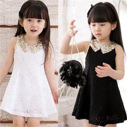Wholesale Tutu Materials - Popular Sleeveless Kids Dresses Adorable Summer Childrens Dresses Sequin Collar Design Cotton Blends Material Hot Sale 14554