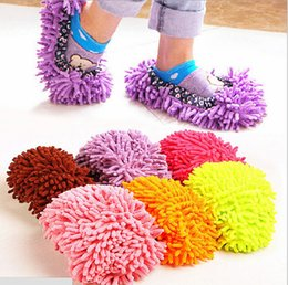 Wholesale Microfiber Chenille Wipe - 50PCS Non Slip Cover Clean Slippers Home Slippers Cleaning Clothes Floor Chenille Microfiber Shoes Overshoes Floorcloth Wiping Mop Slippers