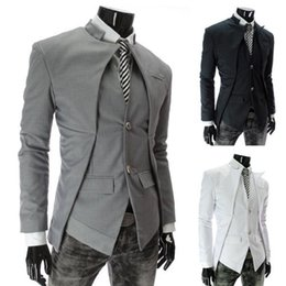 Wholesale Casual Blazer Mens - 2015 New Brand British Style Slim Men Suits Mens Stylish Design Blazer Casual Business Fashion Jacket Black Grey White free shipping