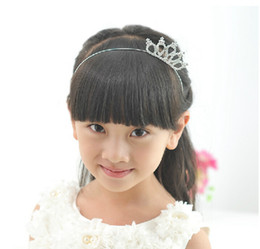 Wholesale Crowns Tiaras Kids Plastic - Kids Hair Accessories Children Crown Heart-shaped Hair Bands Girls Hair Bands 20pcs lot