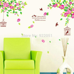 Wholesale Trees Branches Birds - AY1916 Fashion Style Vintage Home Art Decor Flower Tree Wall Stickers Living Room Decals Removable Branch Bird Cage