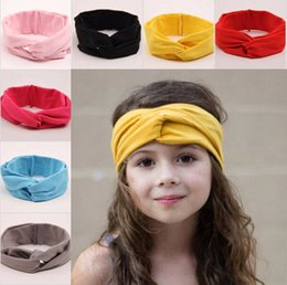 Wholesale Jersey Wrap Wholesales - 2015 Stretchy Top Knot Turban Headband Baby Twisted Knotted Head Wrap Girls Jersey Knit Cotton Headband