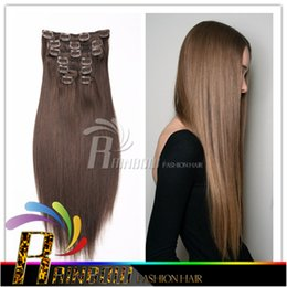 Wholesale European Hair Clips Remy - Virgin Peruvian Clip In Human Hair Extensions Straight Clip On Hair Extension Long Hair Weave