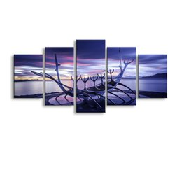 Wholesale Water Picture Frame - 5 pieces high-definition print Sunse Water Lake canvas oil painting poster and wall art living room picture PL5-168