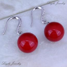 Wholesale Drop Coral Earring - Festive Red Coral Earrings, Silver   18K White Gold Plated Womens Jewelry CZ Diamond Wedding Drop Earrings J0148
