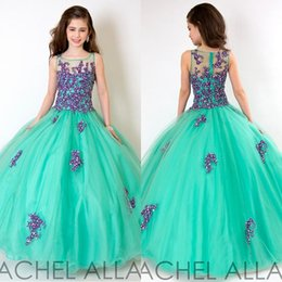 Wholesale Mint Green Flower Girl Dresses - Sweet Kids Party Mint Green And Purple Lace Flower Girls Beaded Ball Gown Floor Length Child 2016 Glitz Girl's Pageant Dresses UM3085